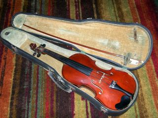 Vintage Full Size Violin Labeled Josef Guarnerius With Bow And Case 032616wa photo