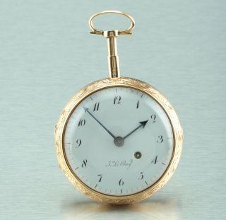 18k Gold Julien Le Roy Verge Watch Quarter Repeater Circa 1770 Pocket Watch photo