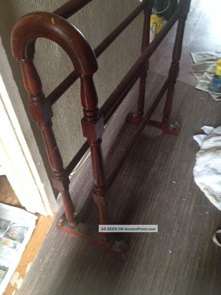 Antique Victorian Wooden Mahogany Towel Rail Clothes Airer Linen Rail Rare Stands photo