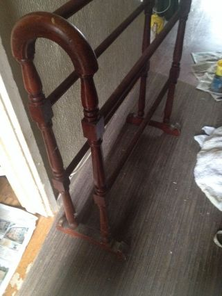 Antique Victorian Wooden Mahogany Towel Rail Clothes Airer Linen Rail Rare photo