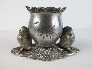 C1890 Pairpoint Figural Silverplate Toothpick Holder 2 Baby Birds photo