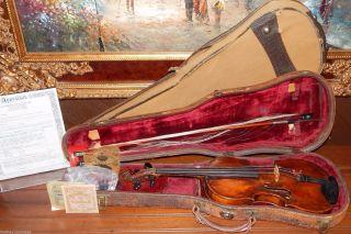 German Violin Labeled Aegidius Kloz Mittenwald 1819,  Enrico Morelli Bow,  2 Cases photo