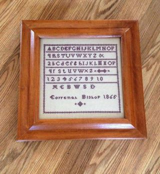 Antique Cross Stitch Sampler In Maple Frame By