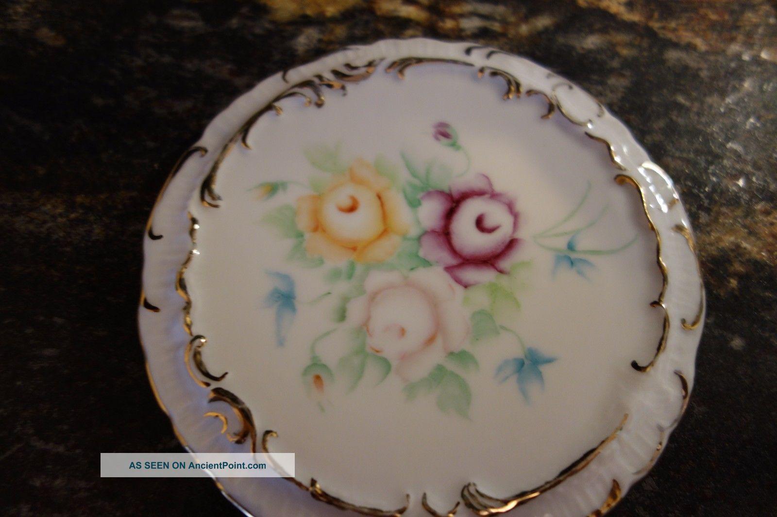 1900 ' S Tea Tile/trivet - 3 Roses - Purple,  Pink,  Yellow - Hand - Painted Initials Mis - Trivets photo