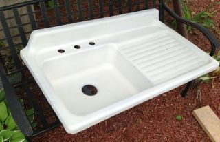 Farmhouse Sink With Drain Board.  Stamped Ar,  Farm House,  Vintage,  1950 ' S photo
