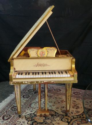 Antique Faventia Mini Baby Grand Hand Painted Piano Made In Spain photo