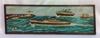 Antique Folk Art Hand Made Cruise Ships Sail Boats Nautical Maritime Diorama photo