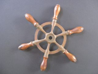 Patented Feb 6 1906 Antique Brass & Wood Ship Or Boat Wheel Nautical photo