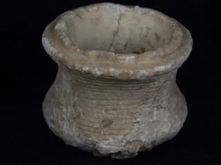 Ancient White Marble Pot Bactrian 300 Bc Stn15130 photo