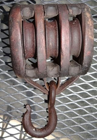 3 Steel Roller Wood Rope Pulley Block & Tackle Vtg Antique Primitive Farm Tool photo