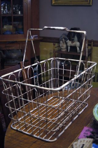 Antique Extra Large Iron Metal Basket With Carrying Handles Early White Paint Gr photo