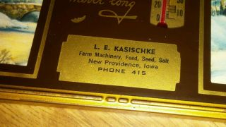 Vtg 1940 ' S Thermometer Sign - L.  E.  Kasischke Tractor & Seed Providence Iowa (ia) photo