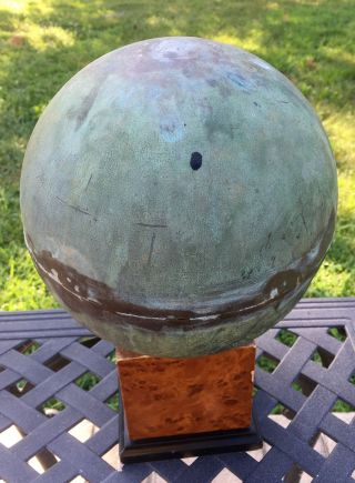 Large 100 Yr.  Old Flagpole Copper Ball.  Great Natural Surface Weathervane photo