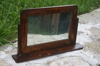 Antique Primitive Hand Made Wood Wall Hanginc Mirror Frame photo