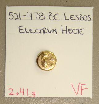 521 - 478 Bc Lesbos,  Mytilene Ancient Greek Electrum 6th Stater (hecte) Vf photo