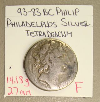 93 - 83 Bc Seleucid Kingdom Philip I Ancient Greek Silver Tetradrachm F photo