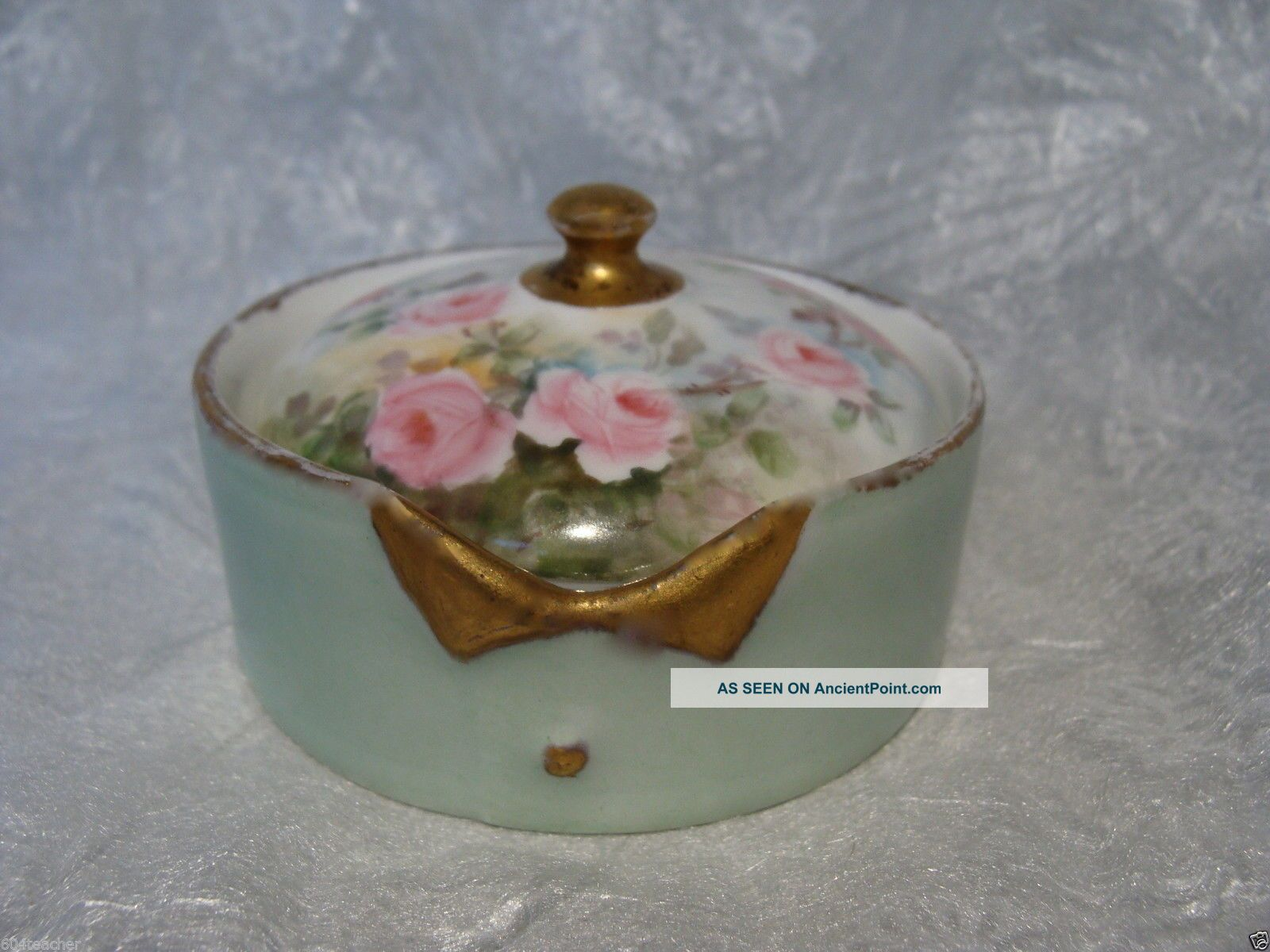 Germany Hand Painted Porcelain Stud Collar Button Box Bavaria Rosenthal German Baskets & Boxes photo