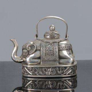 Old Chinese Tibet Silver Handwork Elephant - Shape Teapots C610 photo