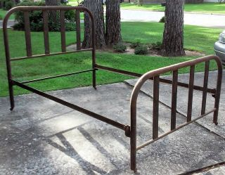 Antique Vtg Cast Iron Bed Frame Headboard Foot - Board Garden Art Flower Bed photo