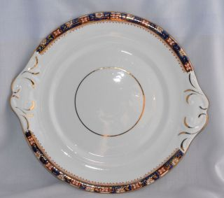 Antique Tab Handle Cake Plate - Imari Coloured Band - Vgc photo