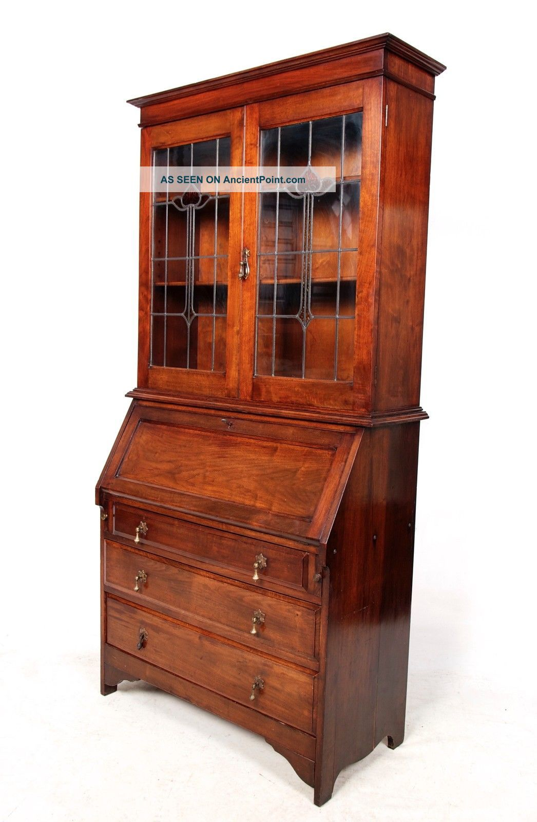 Antique Secretaire Bureau Bookcase Mahogany Leaded Stained Glass Writing Desk Ch 20th Century photo