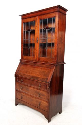 Antique Secretaire Bureau Bookcase Mahogany Leaded Stained Glass Writing Desk Ch photo