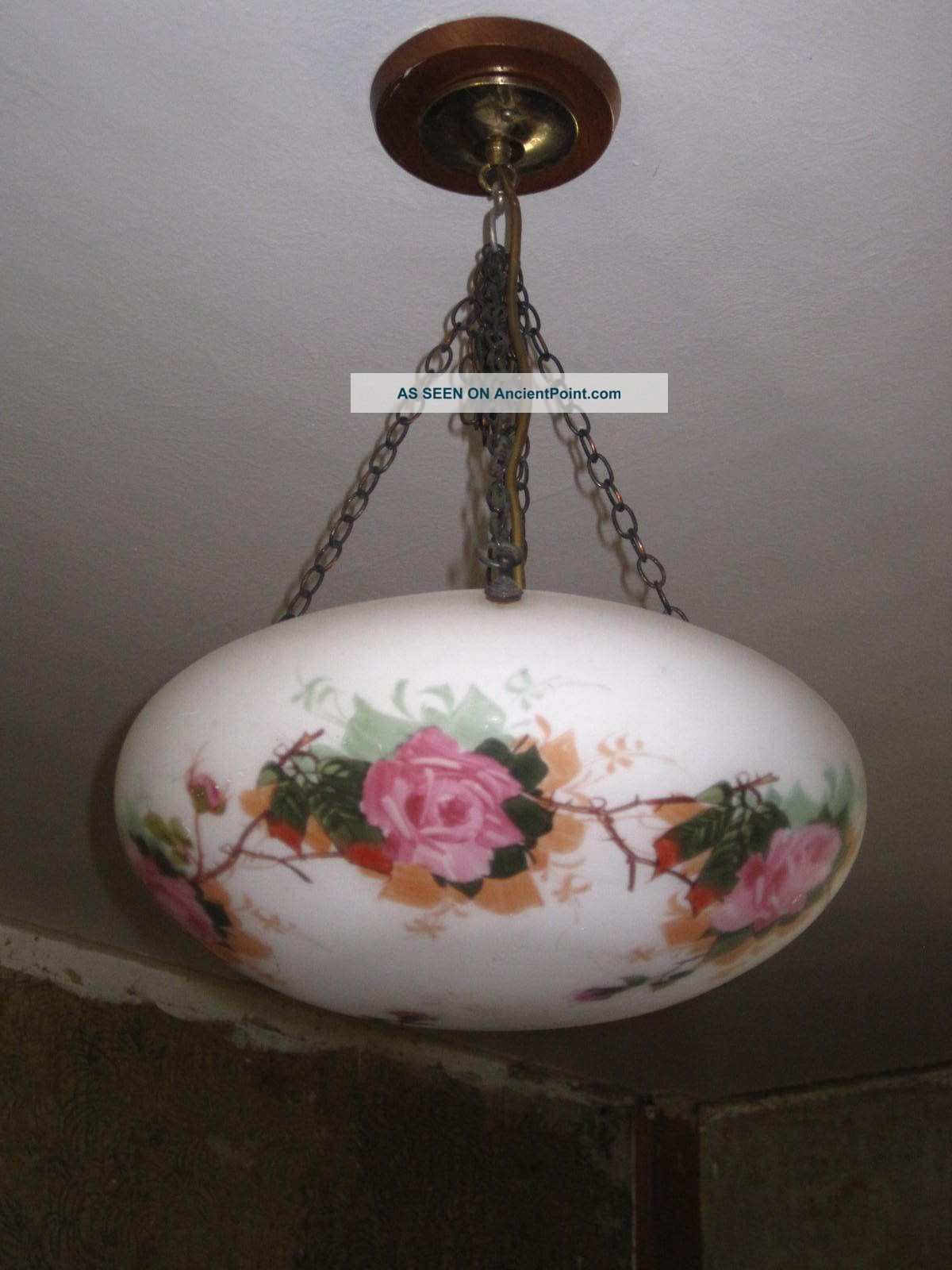 Art Deco Flycatcher Lampshade With Chain Floral Hand Painted 20th Century photo