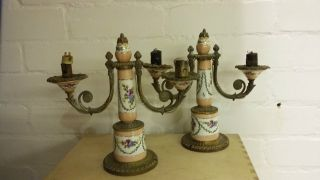 Vintage French Style Brass & Hand Painted Ceramic Lamps.  Rb 33 photo