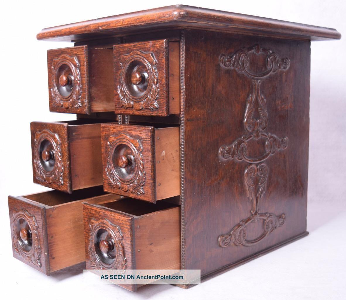 Antique Six Drawer Sewing Oak Cabinet Unique Piece Furniture photo