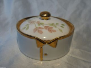 Larger Germany Hand Painted Porcelain Stud Collar Button Box German Limoges (?) photo