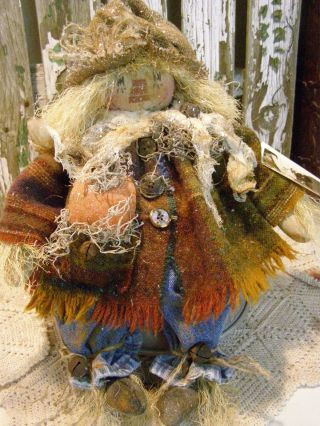 Primitive Scarecrow Doll,  Pumpkin,  Old Wool,  Old Photo,  Folk Art Scarecrow Doll photo