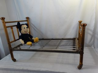 1920 ' S Antique Child Size Copper Flash Wrought Iron Old Brass Type Baby Doll Bed photo