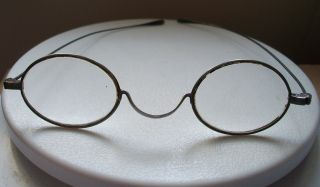 A Antique Metal Spectacles Stamped Pebbles In A Treen Case photo