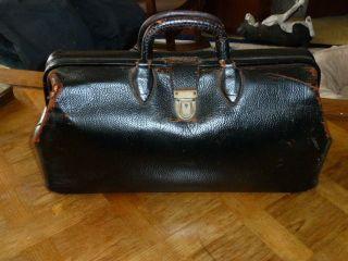 Very Old Doctors Bag Vintage Medical Briefcase Satchel Black Leather photo