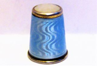 Rare Vintage Norwegian Sterling Silver,  Opaline Glass&guilloche Enamel Thimble photo