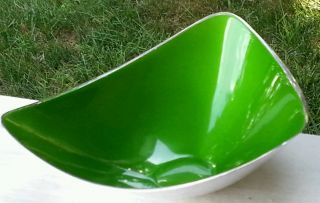 Vintage Mid Century Reed Barton 241 Green Enamel Silverplate Triangle Bowl photo