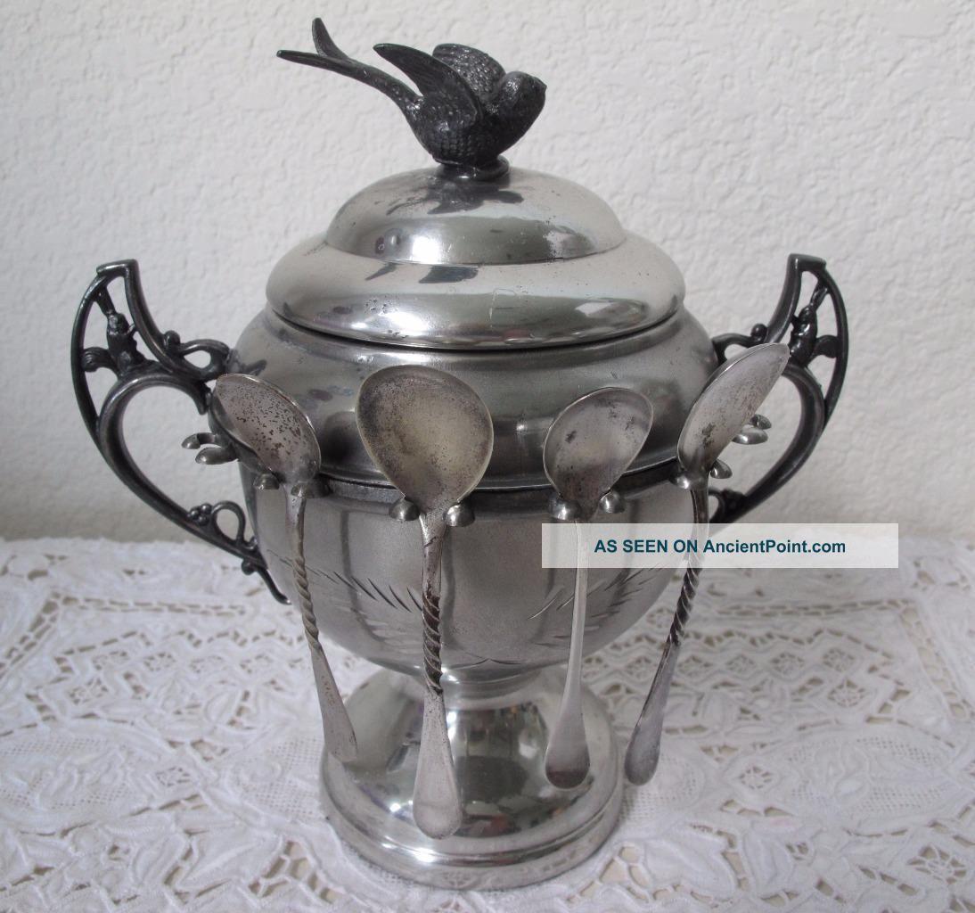 Antique Quadruple Silverplate Spooner Sugar Bowl Bird Squirrel Wr York Creamers & Sugar Bowls photo