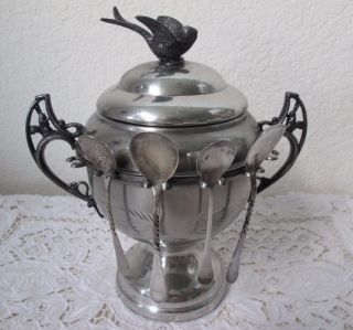 Antique Quadruple Silverplate Spooner Sugar Bowl Bird Squirrel Wr York photo