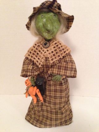Halloween Witch Autumn Country Shabby Rustic Home Decor Ornie Folk Art Prim Vtg photo