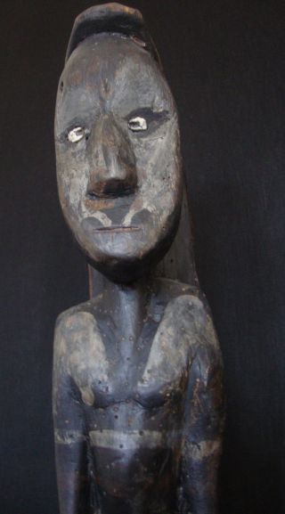 Powerful 65 Cm Ancestor Spirit Figure Sawos People: Sepik Guinea Cult Statue photo