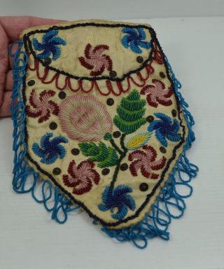 Antique Native American Indian Beadwork Purse C 1910 Iroquois ? As Found photo