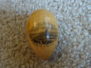 Antique Souvenir Cromer Norfolk Wooden Sock Darner Egg & Needle & Thimble Case photo