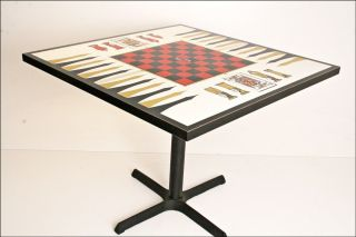 Vintage Red Game Table Mid Century Modern Chess/checkers/backgammon/card Dining photo