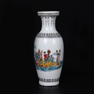 Famille Rose Porcelain Hand - Painted Baxianguohai Vase W Qian Long Mark Csy229 photo