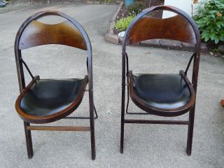 Two Vintage 20s/30s Deco Industrial Stakmore Wood Folding Chairs Leather Seats photo