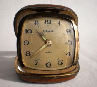 Scarce Vintage Ca 1960 ' S Citizen [japan] Mechanical Travel Alarm Clock - photo