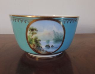 Antique English Porcelain Bowl Landscape Turquoise Ground Minton 19th Century photo