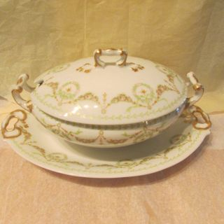 B&h Limoges Covered Gravy/sauce Boat With Underplate Circa 1800
