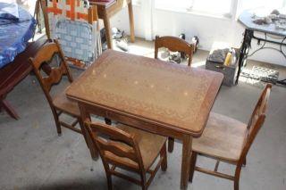 Vintage Porcelain Kitchen Table & 4 Chairs photo