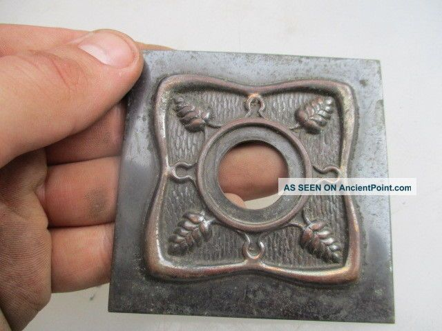 Vintage Brass Light Swtich Plate Art Nouveau Leaf Old Antique Style Light Switches photo